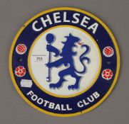 A Chelsea Football Club sign. 24 cm diameter.