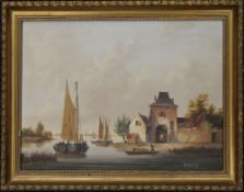 BERNARD PAGE (1927-1988) British, Dutch Riverscene, oil on board, framed. 39.5 x 29.5 cm.