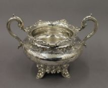 A Victorian silver sugar bowl. 21 cm wide. 14.7 troy ounces.