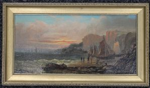 EDWIN HAYES R.I (1819-1904), Coastal Scene, oil on canvas, framed. 39 x 19 cm.
