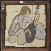 LORRAINE MAMMONE, an art pottery plaque, framed. 64.5 x 65 cm overall.