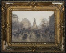IMPRESSIONIST SCHOOL (French), Place De La Republique, Paris, oil on board, indistinctly signed,