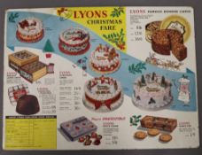 A vintage Palethorpes advertising poster and a Lyons advertising showcard. The latter 42 cm wide.