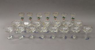 A quantity of Babycham and Cherry B glasses