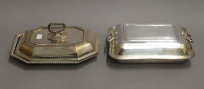Two silver plated entree dishes.