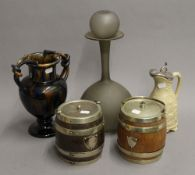 Two biscuit barrels, and a quantity of miscellaneous ceramics and glass.