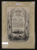 A 19th century Royal Agricultural Society of England print, framed and glazed. 23.5 x 36 cm.