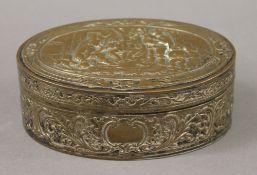 An oval Dutch copper box. 16.5 cm wide.