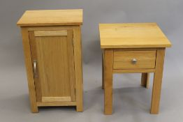 A modern oak bedside cupboard and a side table. The former 75 cm high x 45 cm wide. Table 48.