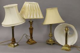 Four various table lamps. The largest 55 cm high overall.