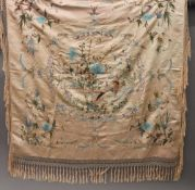 A Chinese embroidered silk shawl decorated with birds and insects. 110 cm wide.