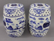 A pair of blue and white porcelain barrel seats. 45 cm high.