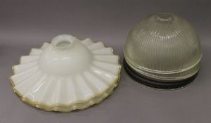 Five early 20th century industrial size glass shades. The two largest 40 cm diameter.