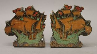 A pair of Deco bookends formed as galleons. 12.5 cm high.