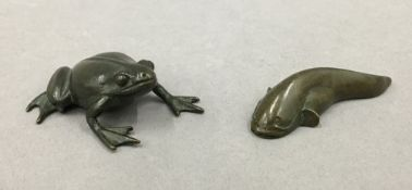 A Japanese bronze model of a frog and another of a fish. The former 4.5 cm long.