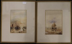 Boats on a Beach and a Harbour Scene, watercolours, both signed with initials J.