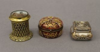 A Victorian 'Go To Bed' cylindrical match strike depicting Canterbury Cathedral on the lid,