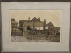 VALERIE THORNTON, Old Houses, lithographic print, numbered 39/80, signed and dated 76,