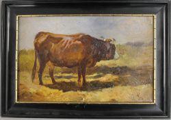ANTON SCHRODL (1823-1906) Austrian, Cow, oil, monogrammed, framed. 27.5 x 17 cm.