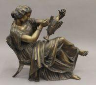 JAMES PRADIER (1790-1852) Swiss, bronze sculpture of a female, signed, 33 cm long x 27 cm high.