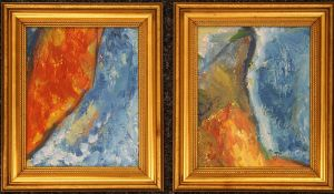 A pair of French Abstract oil paintings, framed. Each 19 x 24 cm.