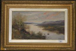 A Victorian oil on board, River Scene, signed S CROUKE, framed. 44.5 x 24 cm.