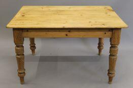 A Victorian pine kitchen table. 120 cm long, 81 cm wide, 74 cm high.