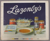 A Lazenby's advertising showcard. 42 x 34 cm.