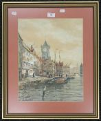 JOHN HAMILTON GLASS SSA (flourished 1890-1925) Scottish, Dutch Riverside Townscape, watercolour,