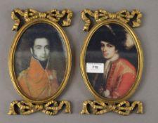Two gilt framed miniatures. 23 cm high.