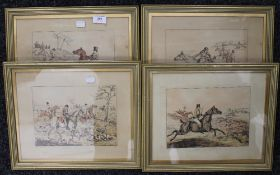 After HENRY ALKEN, four Hunting prints, framed and glazed. 23.5 x 17.5 cm.