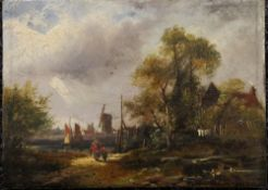 An early 19th century oil on panel, Figures Before a River with a Windmill in the background,