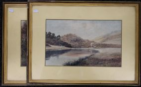 A pair of Victorian watercolours, Riverscenes, signed J W STEDMAN, each framed and glazed. 39.