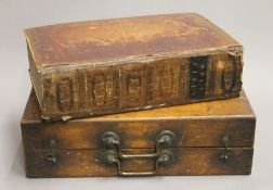 An Antique boxed Family Bible. The box 44.5 cm wide.