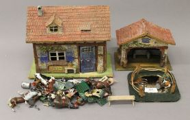 A quantity of various lead farm animals, etc. and farm buildings. The largest 26 cm wide.