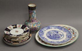 A quantity of various porcelain, including Masons plates, Wedgwood, etc.