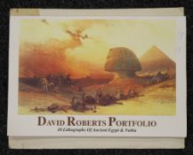 A folio of DAVID ROBERT prints, together with papyrus paper paintings. The former 50.5 x 34.5 cm.