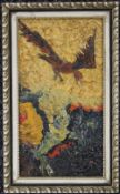 A small 1960's Abstract painting, Bird in Flight, framed, the reverse inscribed 'Bird Anthony Dunn'.