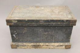 A 19th century carpenters trunk. 96 cm wide.