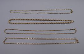 Four 9 ct gold chains. 27 grammes.