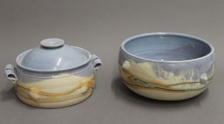 Two pieces of Isle of Mull pottery. The largest 24.5 cm diameter.