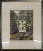 CAROLINE E NEWBURY, Forest Waterfall, watercolour, framed and glazed. 23.5 x 30.5 cm.