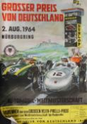 A vintage pictorial motor racing poster. 59.5 cm wide.