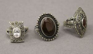 Three silver marcasite rings. Ring sizes - O/P, P/Q and P/Q.