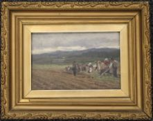 DAVID FARQUHARSON ARA (1839-1907) Scottish, Hoeing the Field, oil on board, signed and dated 1878,
