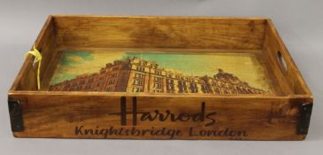 A wooden London tray on stand. 66 cm wide.