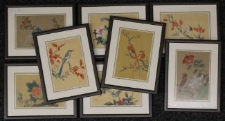 A set of eight painted Chinese textile panels, each framed and glazed. Each approximately 19 x 13.