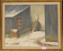 ALFRED PEDERSEN, Danish, The Upturned Wheelbarrow, oil on board, framed. 49 x 39 cm.