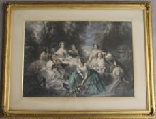After F WINTERHALTER, Princess Eugenie and Her Ladies in Waiting, print, framed and glazed.