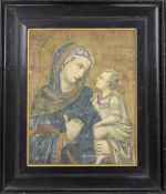 The Madonna and Child, print on canvas, framed. 28.5 x 36 cm.
